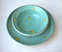 A set of  two turquoise bowls decorated with by KelimPottery, $70.00