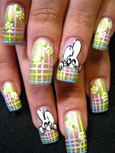 Funny Nails French Rabit - DELARIZ. They seem perfect for easter