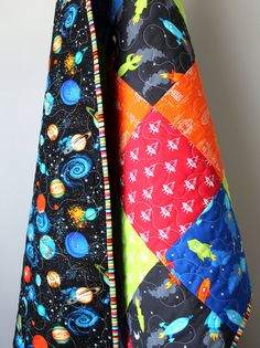 Space quilt baby boy blast off outer space spaceship for Outer space themed fabric