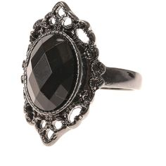 Black Filigree Gem Ring ($12) ❤ liked on Polyvore featuring jewelry, rings, accessories, gemstone jewellery, filigree ring, black jewelry, gemstone rings and filigree jewelry