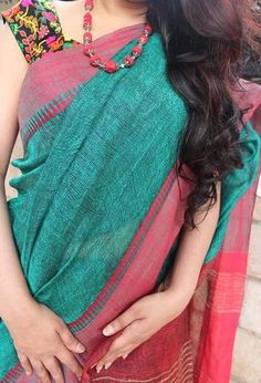 Beauteous Bluish Green with Cornell Red Handloom linen saree