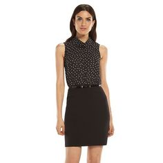 ELLE™ Dot Chiffon Mixed-Media Dress - Women's
