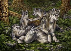 """<a href=""""http://darknatasha.com/"""" target=""""_blank"""">Art by Dark Natasha</a> <br><br> Hunts are often dangerous endeavors for adult werewolves. Werewolf packs being larger require larger and usually more dangerous game to sustain family groups. As a result adult werewolves in larger family groups will form creches for young werewolves. A single, usually elder werewolf will remain at the den site to monitor the young while the group is away hunting. In smaller family groups subsisting of 3…"""