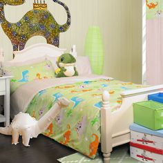Dinosaur Baby Bedding Decor - Children will love the addition of dinosaur bed in their bedroom. Cartoon and other models of dinosaurs friendly can be a Baby Doll Bed, Baby Doll Toys, Dinosaur Light, Tropical Bedding, Dinosaur Bedding, Baby Dinosaurs, Baby Bedding Sets, Bed Design, Boy Room