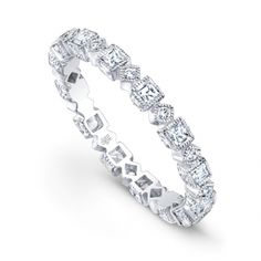 Timeless and contemporary, this hand-crafted white gold and diamond band features shimmering diamonds nestled within alternating round and square diamond silhouettes with milgrain framing and alternating side engraving. Square Diamond Rings, Eternity Ring Diamond, Eternity Bands, Diamond Bands, White Gold Diamonds, Rose Gold, Jewelry Design, Wedding Rings, Engagement Rings