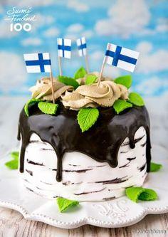 Kakku Suomen kesälle kuuluu Suomi 100 -leivonnaissarjani teemaresepteihin. Jatkan täytekakussa juhannusrullan hengessä eli makuna on sitruuna-lakritsi ja koristelun aiheena on kansallispuumme koivu. Finnish Independence Day, Finland Food, Finnish Recipes, Piece Of Cakes, Sweet Pastries, Amazing Cakes, Beautiful Cakes, Scandinavian Food, Creme Brulee