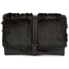 Sam Edelman Lucca Faux Fur-Trimmed Clutch (€180) ❤ liked on Polyvore featuring bags, handbags, clutches, purses, black, black handbags, sam edelman, black clutches, black purse and sam edelman purses
