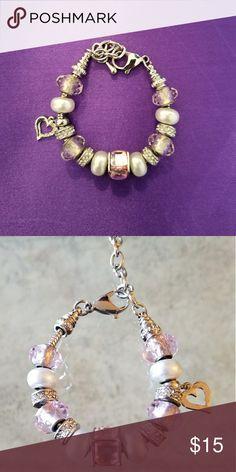 Beautiful Pink & Silver Pandora Stlye Bracelet Beautiful Bracelet Jewelry Bracelets