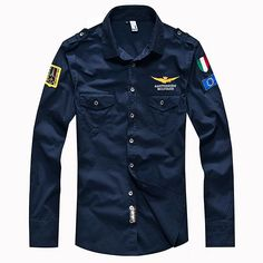 ASSTSERIES Embroidery Epaulets Military Style Cotton Breathable Work Shirts  for Men 749111dc08