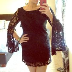 • nwt black lace dress • NWT black lace dress! Bought from a boutique and haven't worn, so time to go! Cute open flare sleeves. The dress is fully lined! Size medium! Would prob be best for a shorter medium. Bought for $40 plus tax and shipping, just trying to get close to what I spent on it! NO TRADES | NO PAYPAL Coveted Clothing Dresses Long Sleeve