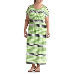 2239650a32a Faded Glory - Faded Glory Women s Plus-Size Striped Cold Shoulder Maxi Dress  - Walmart.com