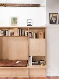 built-in wood reading nook