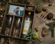 Wine Box with area for 4x6 prints and USB and 2 wine glasses - Dark Walnut