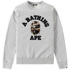 A Bathing Ape College Crew Sweat (Grey & Yellow) $240.00
