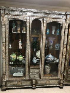 Rare antique Inlaid Walnut wood Vitrine Cabinet Mother Of Pearl Armoire Wooden Cabinets, Walnut Wood, Rare Antique, Handmade Wooden, China Cabinet, Armoire, Vintage Cabinet, Pearls, Antiques