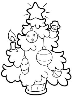 Small Christmas Tree Picture Coloring Pages For Kids Printable