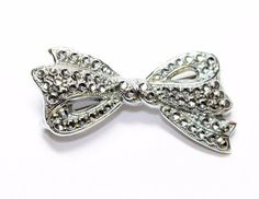 A sparkly silver coloured bright cut steel faux marcasite bow brooch, which I think possibly dates from around the Art Deco era of the 1930s. ~~~~~~~~~~~~~~~~~~~~~~~~~~~~~~~~~~~~~~~~~~~~~~~~~~~~~~~~~~~~~~~~~~~~~~~~~~~~~~~~~~~~~~~~~~~~~~~~~~~. | eBay!