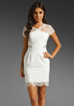BCBG. Lace Mini Dress in White