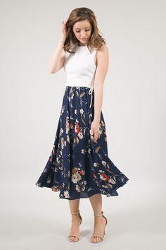 Kelly Navy Floral Full Midi Skirt - Skylar Belle 2dca49b17