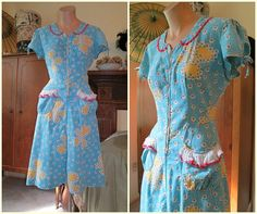 Super Sweet 1940s Turquoise and Yellow Cotton Day Dress - by dandelionvintage, $70.00