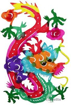 chinese folk art handmade paper cuts - zodiac dragon.......a powerful sign, those born under the chinese zodiac sign of the Dragon are energetic and warm-hearted, charismatic, lucky at love and egotistic. They're natural born leaders, good at giving orders and doing what's necessary to remain on top. Compatible with Monkey and Rat.