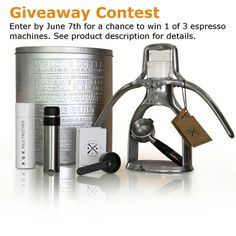Repin to win - Get a free ROK Espresso Maker - Hand Powered Espresso Machine or 1 of 2 other espresso machine options.   You can enter the contest multiple ways, multiple times. One winner will be selected at random from the people who do any of the items listed in the product description - each item counts as another entry:   http://www.espressooutlet.net/rok-espresso-maker-hand-powered-espresso-machine/