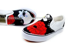 Dummy Doll Cartoon Girls Hand Painted Slip on Canvas Shoes,Low-top Painted Canvas Shoes