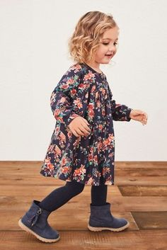 Buy Navy/Red Button Through Dress from the Next UK online shop Girls Fashion Clothes, Toddler Fashion, Kids Fashion, Kids Clothesline, Cable Knit Tights, Shoe Size Chart Kids, Next Dresses, Future Mom, Ballet Girls
