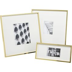 Gallery wall in your living room 9x9 or 3x4, with those gorgeous brass picture frames    CB2