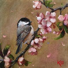 "Daily Paintworks - ""Chickadee & Blossoms"" - Original Fine Art for Sale - © Krista Eaton Bird Painting Acrylic, Bird Paintings On Canvas, Bird Canvas, Watercolor Bird, Animal Paintings, Painting & Drawing, Canvas Art, Bird Drawings, Bird Illustration"