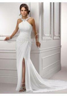 Robe de mariée plage confortable avec col haut chiffon applique