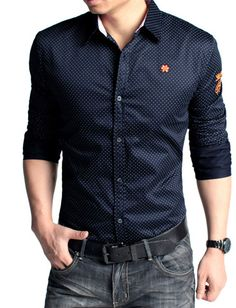 Slim Fitted Dots Printed Embroidered Trim Long Sleeve Shirt For Men