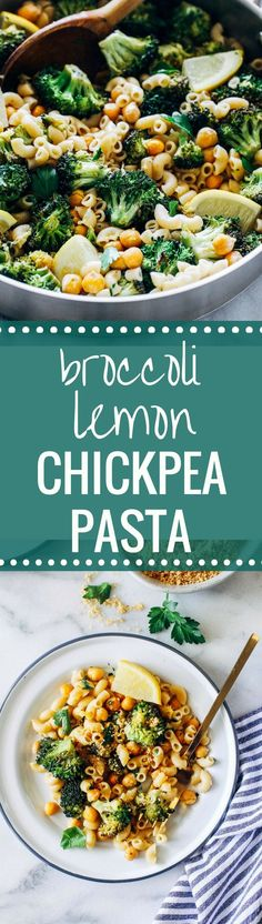 Roasted Broccoli and Chickpea Lemon Pasta- broccoli and chickpeas roasted with fresh lemon and tossed with whole grain pasta. Just 30 minutes to make!