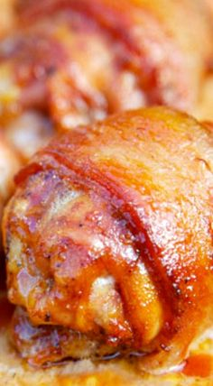 Planked Bacon Wrapped Chicken Thighs with Jack Daniel's BBQ Sauce