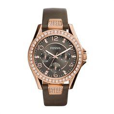 Fossil Damenuhr Riley Leder grau Edelstahl rosé ES3888 http://www.thejewellershop.com/ #fossil #uhr #watch #woman #roségold #uhren #damen #schmuck #jewelry