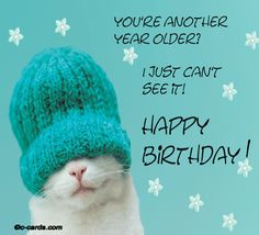 a MOST #POPULAR Re-Pin: KITTY Happy Birthday to give a smile to Cat lovers w its hand knitted turquoise blue winter hat! #HUMOR from HAPPY BIRTHDAY FACEBOOK's  Collection by #DianaDee of easy- for- you pins: a source of fun e-card photos (with sources) to add your own message & give smiles to your Birthday Friends, too!  - https://www.pinterest.com/DianaDeeOsborne/happy-birthday-facebook/ - VERY selective, colorful #Greetings for #Instagram, #Facebook, #email, or... Photo via Maria…