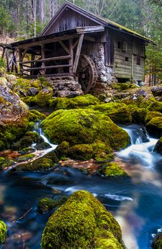 Old Grist Mill and Water by Andreas Pueschel Nature Pictures, Cool Pictures, Beautiful Pictures, Landscape Photography, Nature Photography, Photography Classes, Old Grist Mill, Water Mill, Water Tower