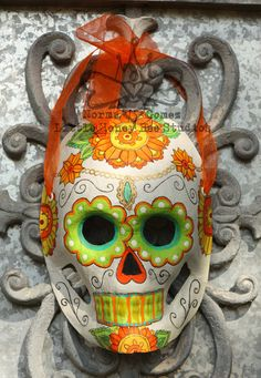 Hey, I found this really awesome Etsy listing at https://www.etsy.com/listing/203149267/dia-de-los-muertos-mask-orange-green