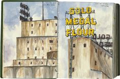 drawn the road again illustrated travel blog/ gold medal flour, mn