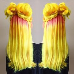 Golden yellow hair with pink roots
