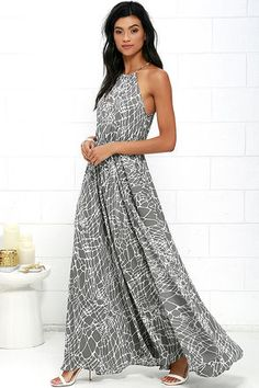 Marble Mood Grey Print Maxi Dress at Lulus.com!