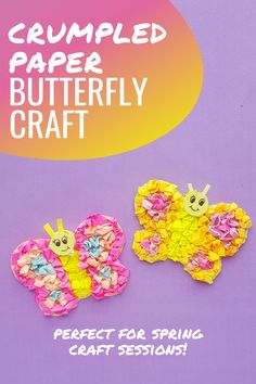 This adorable tissue paper preschool butterfly craft is not only pretty enough to put on display, but it's a great way to build motor skills. #tissuepapercrafts #butterflycraft #springcrafts #homeschoolprek Preschool Arts And Crafts, Preschool Lessons, Preschool Classroom, Fun Crafts, Paper Butterfly Crafts, Tissue Paper Crafts, Crumpled Paper, Craft Projects For Kids, Spring Crafts