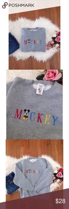 Vintage Mickey Mouse Cozy Pullover 🍂🐭 Awesome vintage Mickey Mouse Co. pullover! Neutral grey hue with a super cute &colorful embroidered Mickey graphic on the front. In excellent vintage condition! So comfy and cozy. Will fit a variety of sizes depending on desired fit! Modeled on a size xs/small, 5'2 height :) Vintage Sweaters Crew & Scoop Necks
