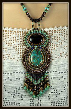 Bead Embroidered Beadwork Beadwoven Turquoise by beadedartjewelry, $348.00