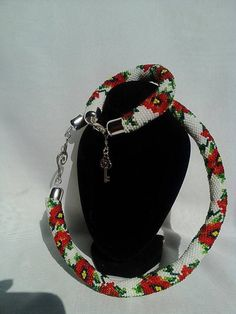 Poppy Flower Beaded  jewelry set Crochet Necklace Beadwork choker  Lariat bracelet by KaznovskaOlhaDesign on Etsy