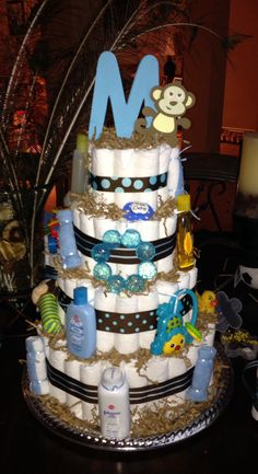 Baby Shower Ides For Boys Monkey Diaper Cakes 66 Ideas Regalo Baby Shower, Baby Shower Niño, Shower Bebe, Baby Shower Diapers, Baby Shower Gender Reveal, Baby Shower Cakes, Baby Showers, Monkey Diaper Cakes, Diaper Cake Boy