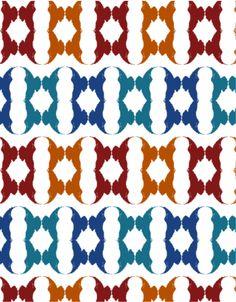 Cuervo 10. Simetría de reflexión especular y traslación. Contraste entre colores fríos y cálidos.