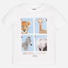 Camiseta animales bebé niño manga corta Blanco