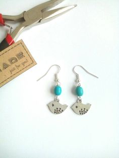 Boho Turquoise Bird Earrings, Nature Jewelry, Drop Earrings, Gift For Her, Gemstone Earrings by VectorCoastUK on Etsy
