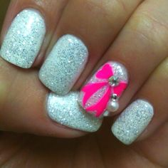 Silver Glitter With Pink Bow Nails Cute